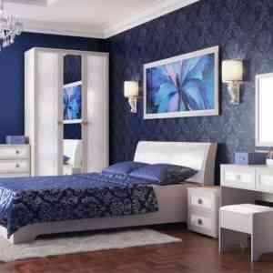 спальня с кожаными вставками