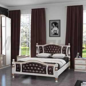 массив кровать с кожей